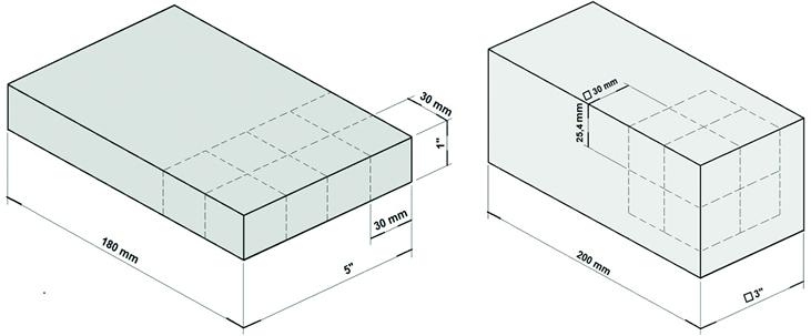 Figura 3 - Representação das barras para retirada dos Corpos de Prova