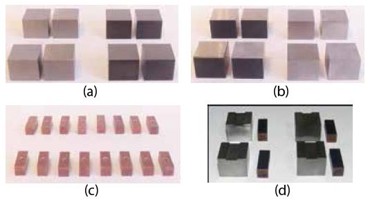 Figura 4 - Amostras dos corpos de prova e dos eletrodos ferramenta: (a) aço ABNT D2 como recebido e com tratamento térmico; (b) Aço ABNT O1 com tratamento térmico e como recebido; (c) eletrodos ferramenta; (d) Aço ABNT D2 após a usinagem.