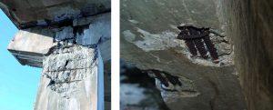 Figuras 02 e 03: Efeito da corrosão nas armaduras de aço dentro do concreto